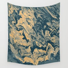 Baesic Paint Pour (Blue & Yellow) Wall Tapestry