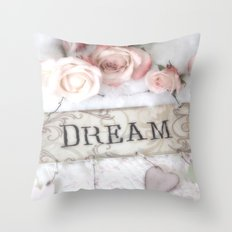 Shabby Chic Dream Roses Throw Pillow