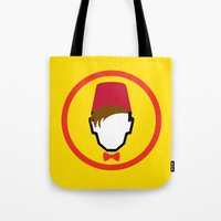 fez Tote Bags featuring Man With Fez by Evan Ayres