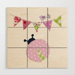 Ladybug with party flags Wood Wall Art