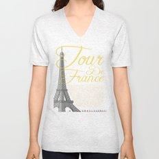 Tour De France Eiffel Tower Unisex V-Neck