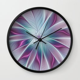 Floral and Luminous, abstract Fractal Art Wall Clock