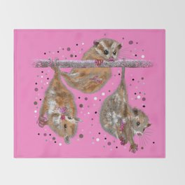 Possum trio on a branch - Pink Throw Blanket