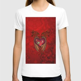 Wondeful heart with clocks and gears on red vintage background T-shirt