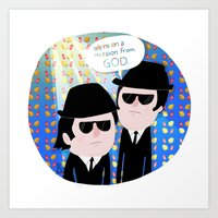 blues brothers Art Prints featuring The Blues Brothers by my panda suit by la Lena