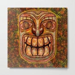 Cracky Face Tiki Metal Print