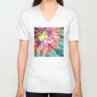 tie dye V-neck T-shirts featuring Color Filled Tie Dye by Phil Perkins