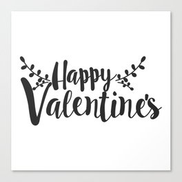 Hand Lettering Happy Valentines Canvas Print