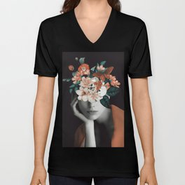 WOMAN WITH FLOWERS 7 Unisex V-Neck