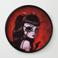 tina crespo Wall Clocks featuring 7-Tina by Dienzo Art