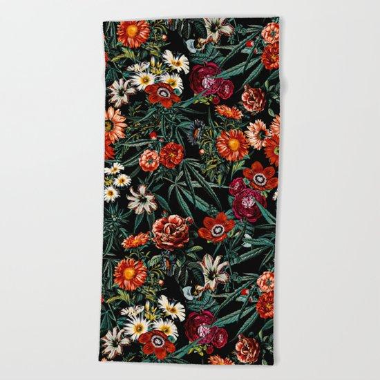 Marijuana and Floral Pattern Beach Towel