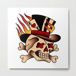 Fiery Top Hat Skull Metal Print