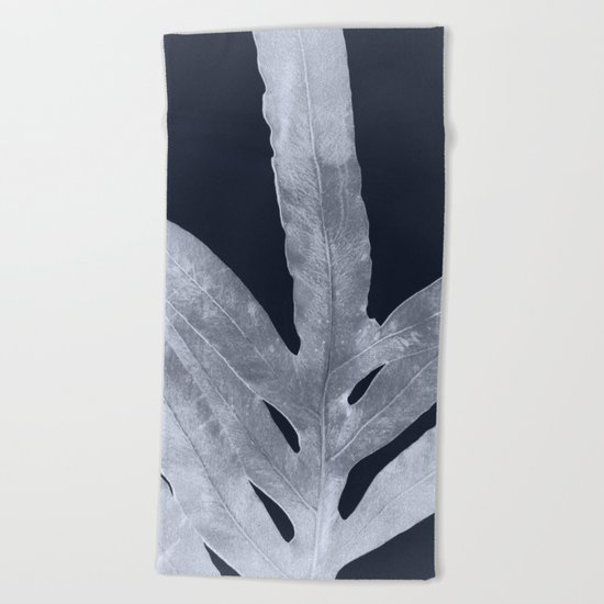 Green Fern Silver Black Beach Towel