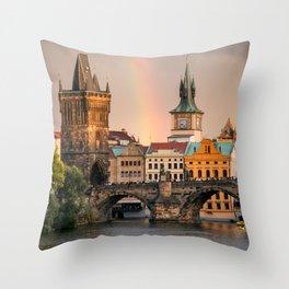 Sunset Rainbow over the Charles Bridge in Prague Throw Pillow