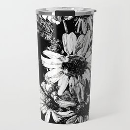 Ink drawing of camomiles, black and white Travel Mug