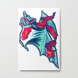 Ninja Bat Metal Print