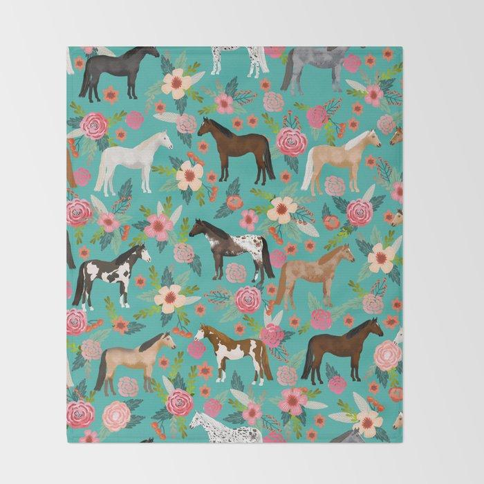 Horses floral horse breeds farm animal pets Throw Blanket