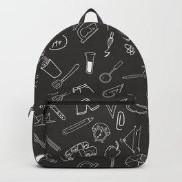 School pattern on black background Backpack