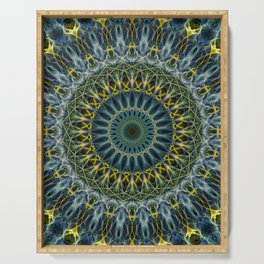 Blue and yellow mandala Serving Tray