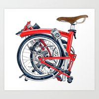 brompton Art Prints featuring Brompton Folded red painting by Diana Powell