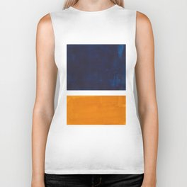 Navy Blue Yellow Ochre Abstract Minimalist Rothko Colorful Mid Century Color Block Pattern Biker Tank