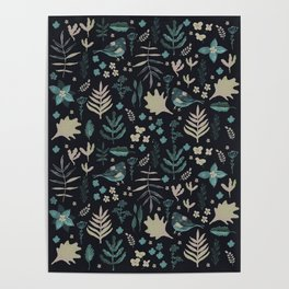 Night Nature Floral Pattern Poster
