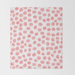Natalia - abstract dot painting dots polka dot minimal modern gender neutral art decor Throw Blanket