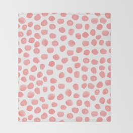 Natalia - abstract dot painting dots polka dot minimal modern gender neutral art decor Throw Blanket