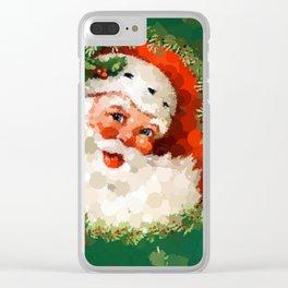 Bubble Dot Santa Christmas Clear iPhone Case