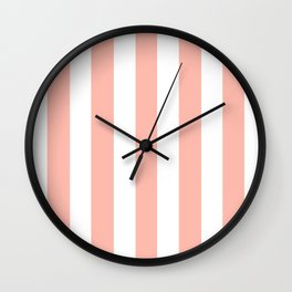 Melon pink - solid color - white vertical lines pattern Wall Clock