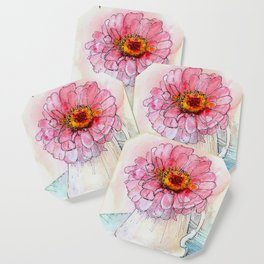 Botanical Flower Pink Zinnias in Pitcher Coaster