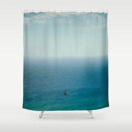 Small Sailboat, Big Ocean Shower Curtain