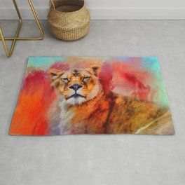 Colorful Expressions Lioness Rug