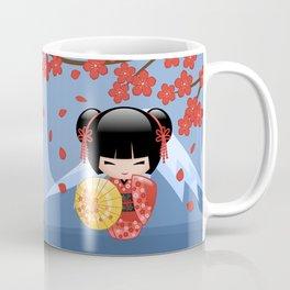 Japanese Red Sakura Kokeshi Doll on Blue Coffee Mug