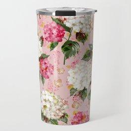 Vintage green pink white bohemian hortensia flowers Travel Mug