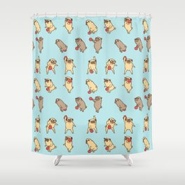 Kettlebell workout with the pug Shower Curtain