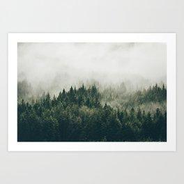 Foggy Mountain Side Art Print