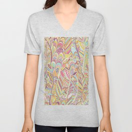 Abstract pink yellow teal hand painted bohemian feathers Unisex V-Neck