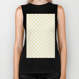 Small Checkered - White and Blond Yellow Biker Tank