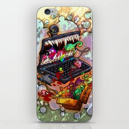 A Laptop Eating Multicolored Kittens iPhone Skin