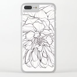 Ink Illustration of a Dahlia Clear iPhone Case