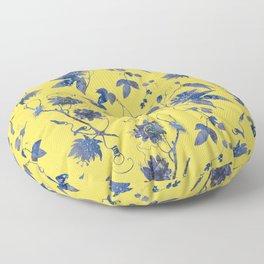 Elegant Blue Passion Flower on Mustard Yellow Floor Pillow