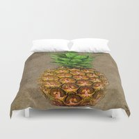 pineapple Duvet Covers featuring Pineapple by Saundra Myles