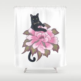Black Cat on Flower Shower Curtain