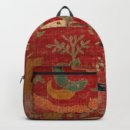 Animal Grotesques Mughal Carpet Fragment Digital Painting Backpack