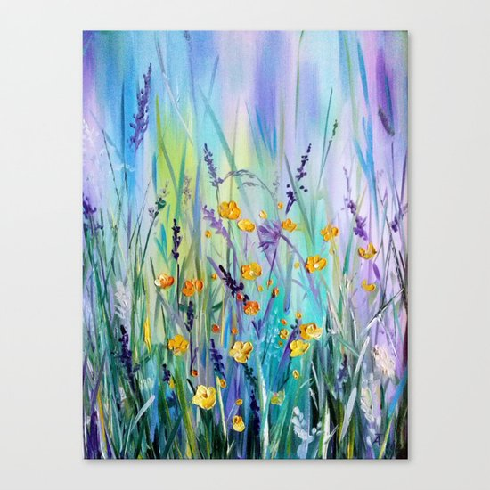 Flowers field at dawn Canvas Print