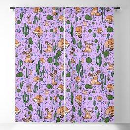 Cute Cactus and Fennec Fox Blackout Curtain