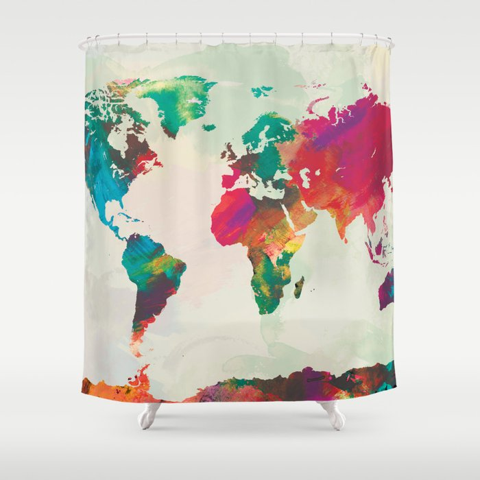 Watercolor World Map Shower Curtain by champagne | Society6