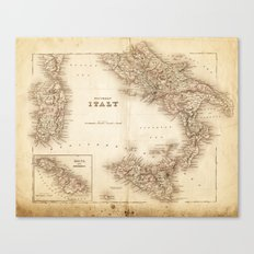 Map of Italy 1855 Canvas Print