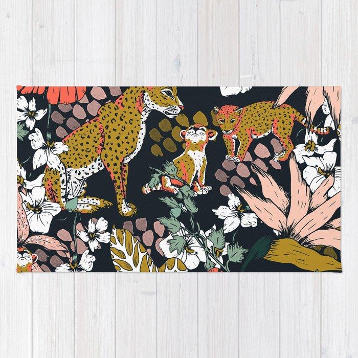 Animal print dark jungle Rug